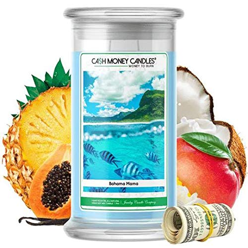 Cash Money Candles | $2-$2500 Inside | Guaranteed Rare $2 Bill | Large Long-Lasting 21oz Jar All Natural Soy Candle | Hand Poured Made in The USA Family Owned (Bahama Mama) -