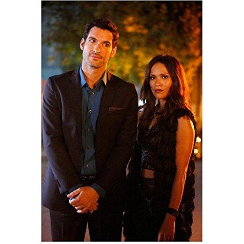 Lucifer (TV Series 2015 - ) 8 inch by 10 inch PHOTOGRAPH Tom Ellis Black Suit Blue Shirt Standing w/Lesley-Ann...