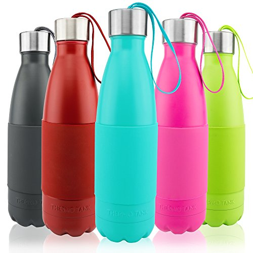 Thermo Tank Insulated Stainless Steel Water Bottle - Ice Cold 36 Hours! Vacuum + Copper Technology - Carry Loop Lid, Silicone Grip - 17 Ounce (Mint, 17oz)