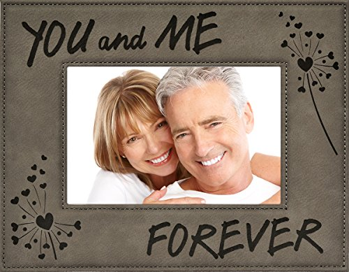 YOU and ME FOREVER ~ Custom Engraved Faux Leather Picture Frame ~ Valentine's Day Picture Frame Gift, Birthday, Anniversary, Wedding, Christmas, Love (4