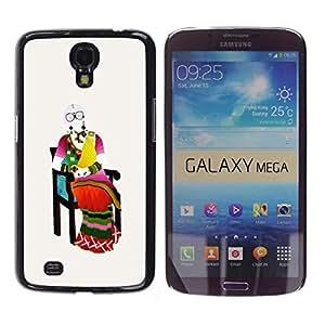 YOYOYO Smartphone Protección Defender Duro Negro Funda Imagen Diseño Carcasa Tapa Case Skin Cover Para Samsung Galaxy Mega 6.3 I9200 SGH-i527 - ropa de colores tradicionales con grandes gafas