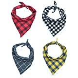 #8: Hiking Plaid Pet Dog, Cat, Puppy Bandana | Double Cotton | Triangle Scarfs | Washable | Accessories for Pets | Pack of 4 | Stylish | Plaid | Medium & Small Dogs