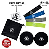 Zdorovaya Nation Core Sliders and 4 Exercise Resistance Bands, Physical Therapy Bands, Double-Sided Sliding Discs, Bands for Intense, Low-Impact Exercises to Strengthen Core, Glutes, and Abs Fitness