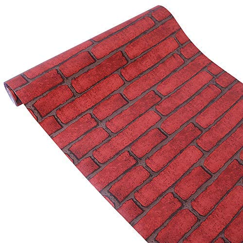 (Yifely Red Brick Self Adhesive Shelf Drawer Liner Door Sticker Rural Contact Paper 17.7inch by 9.8)