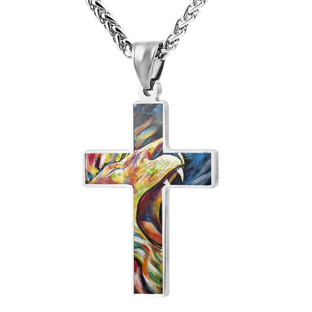 KOTOKTO Colorful Lion Forest Animals Cross Religious Jewelry Pendant Necklace