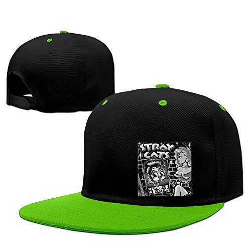 Fashion Stray Cats Hip Hop Snapback Baseball Cap KellyGreen (Helmet Novelty Hawk)
