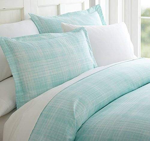 Aqua King Duvet - Celine Linen Luxury Silky Soft Coziest 1500 Thread Count Egyptian Quality 3-Piece Duvet Cover Set |Thatch Pattern| Wrinkle Free, 100% Hypoallergenic, King/California King, Aqua