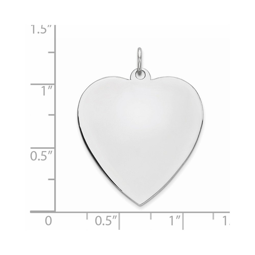 925 Sterling Silver Rhod Plated Eng Heart Polish Front Back Disc Pendant Charm Necklace Engravable Simple Shaped Plain Fine Jewelry Gifts For Women For Her