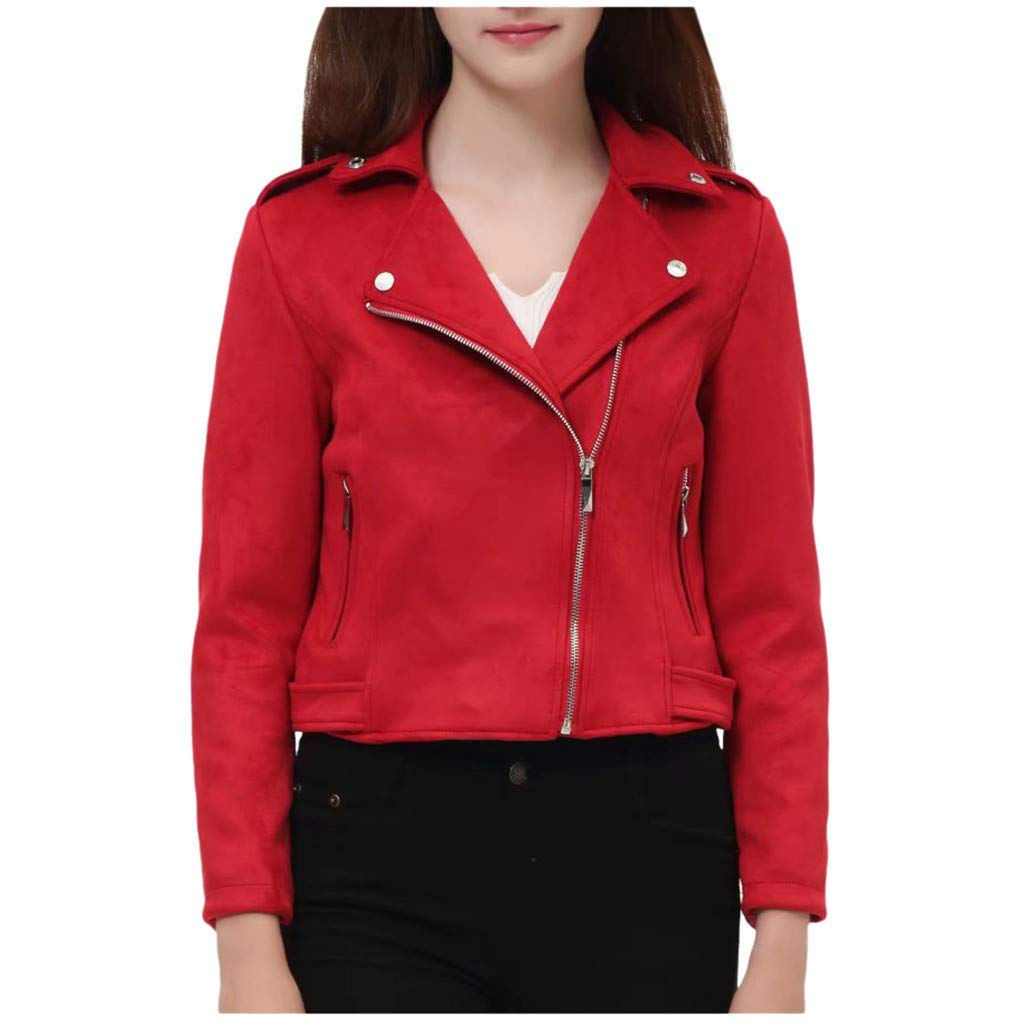 YANG-YI Trench Jacket Womens Casual Ladies Lapel Zipper Long Sleeves Overcoat with Pocket Red by YANG-YI