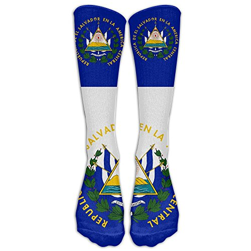 El Ladies Salvador (FUNINDIY El Salvador Flag Crew Sock Long Socks Sports Socks For Travel Leisure For Women And Men - Best Travel & Flight Socks - Running & Fitness.)