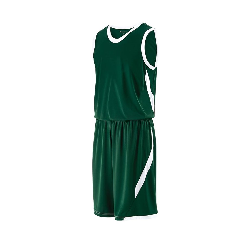 Holloway Youth Lateral Basketball Shorts (Youth Small, Forest/White)