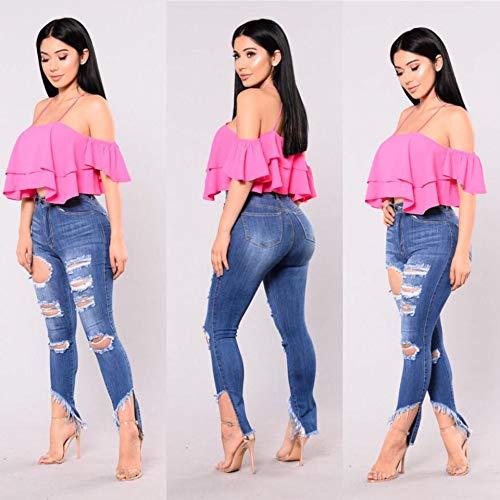 Agujeros DAMENGXIANG Mujeres De Jeans de De Pantalones Lavados Imagen Elásticos Ajustados Gastados Moda Las El Color La nxBwYxqr