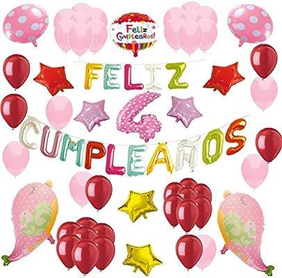 COTIGO-Globos Feliz Cumpleaños Happy Birthday Fiesta Party Docoración para Niños 108 Piezas Globo Látex Rosa Color Rosa Años 4