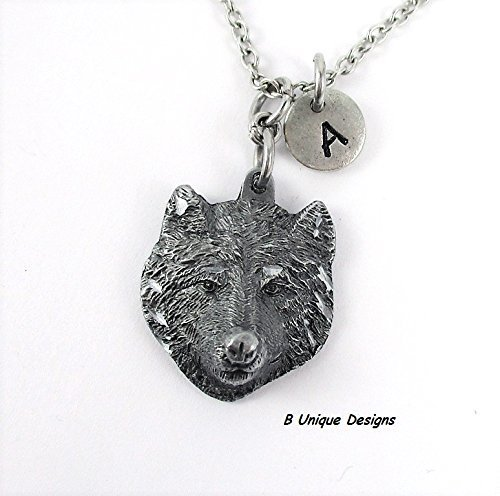 Wolf Pendant Necklace Personalized Initial Women's or Mens Jewelry Add Birthstone Crystal or Your (Cherokee Crystal)
