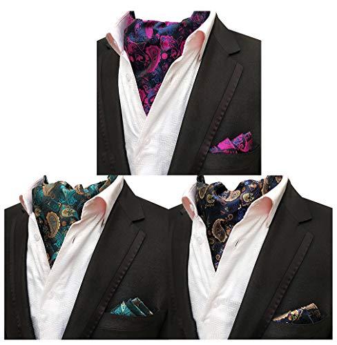 MOHSLEE Mens Luxury Paisley 3 Pack Cravat Silk Ascot Scarf Tie Pocket Square ()