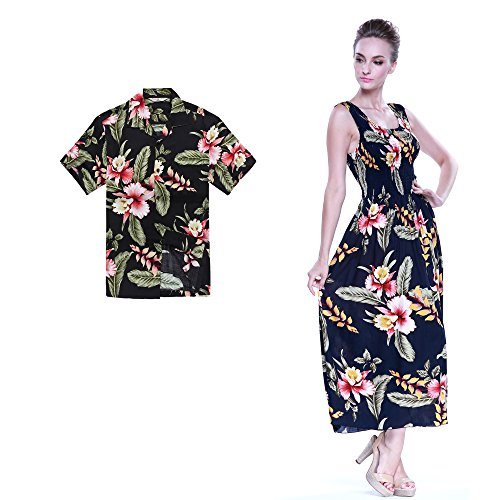Couple Matching Hawaiian Luau Aloha Shirt Maxi Tank Dress in Black Rafelsia