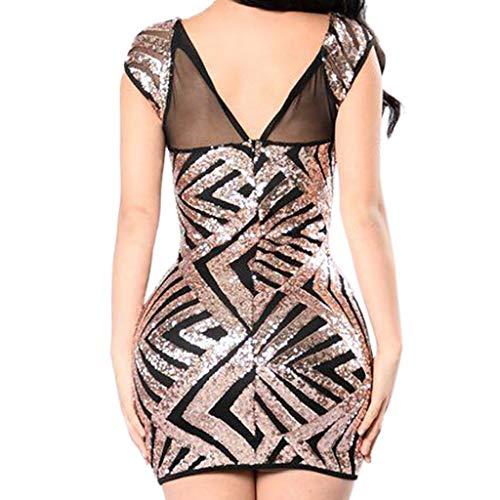 feiXIANG Damen Abendkleid Etuikleid Wickelkleid Festliches Kleid Mit Rundhals Skinny Backless Evening Bridesmaid Short Dress