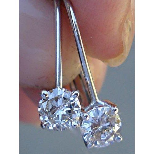 Drop 1/2 Carat Diamond Earrings (Leverback Solitaire Drop Diamond Earrings 0.50 Carat (14K Pink, Yellow or White Gold))
