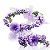 Women flower crown Wreath Bracelet 2pcs/set adjustable ribbo