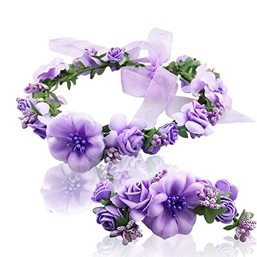 Women flower crown Wreath Bracelet 2pcs/set adjustable ribbo by Ever Fairy