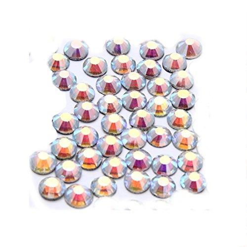 (4mm 1440pcs White AB Colors Round Glass Crystal Rhinestone Bead Nail Fashion Decor)