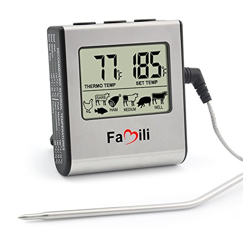 Bargain Famili MT016 Digital Oven Thermometer with Timer Alarm Functions, Kitchen Thermometer with Stainless Steel Probe for Use in Oven, Grill or BBQ discount