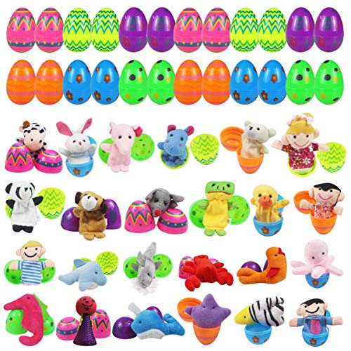 Mitcien 24 PCS Easter Eggs Filled with Toys Inside Finger Puppets for Kids Easter Basket Stuffers Plastic Eggs Toys Surprise Easter Hunt Game Party Favors