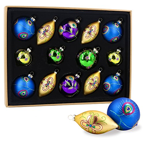 Valery Madelyn 14ct 71-107mm/2.75-4.2inch Regal Peacock Glass Christmas Ornament Tree Ball Decoration, 14 Pcs Metal Hooks Included - Glasses Peacock Wedding