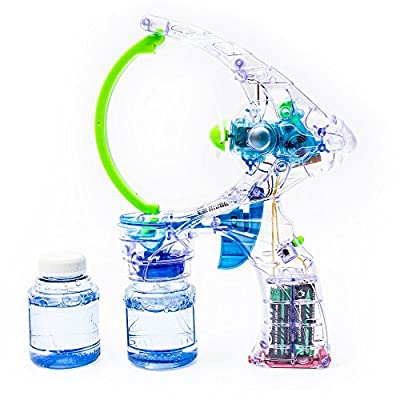 Fun Central R383 1 pack 7 inch LED Light Up Bubble Gun with Sounds, Transparent Bubble Blaster Shooter Gun Toy Gun with 2 Bottles of Solution - for Water/Pool/Beach Party, Christmas