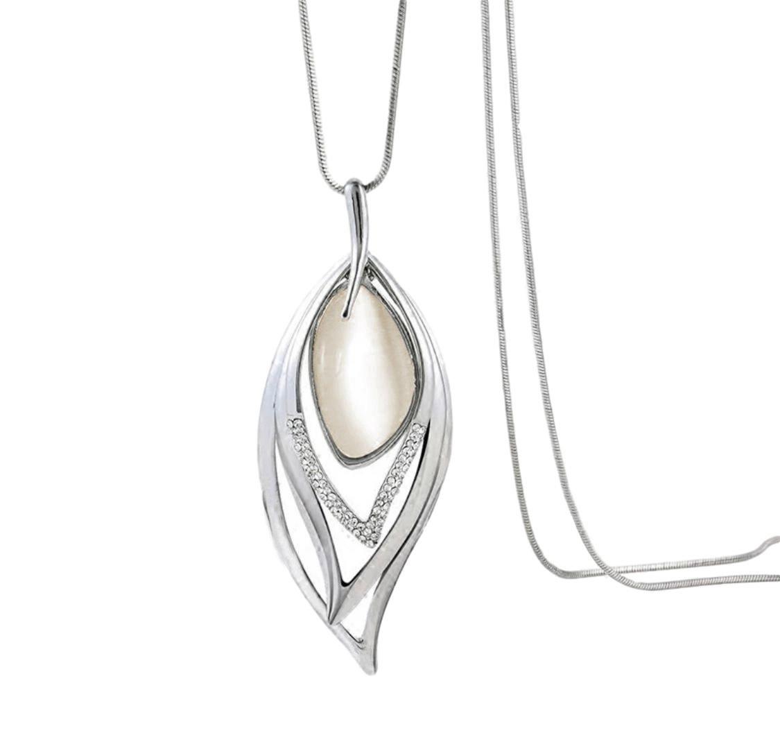 Nataliya Long Pendant Necklace (Opal Angle Eye Pendant)