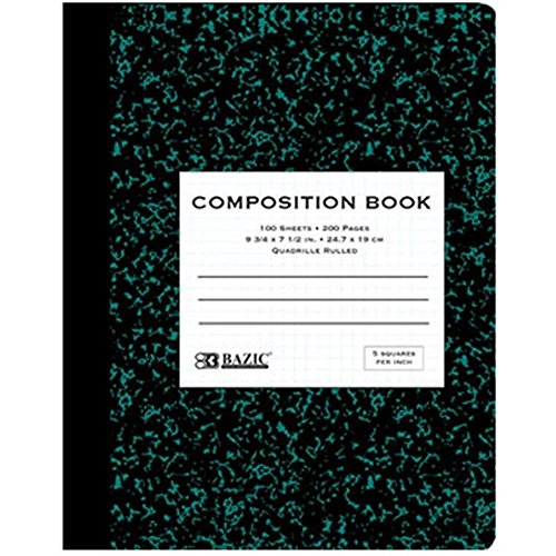 - Quad-ruled Green Marble Composition Book - 100 Ct. 5-1 Inch (Pack of 6)