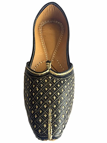 Mens Stile N Uomo Piatto Nero Matrimonio Khussa Scarpe Tradizionale Indiano In Pelle Mocassino Punjabi Jutti