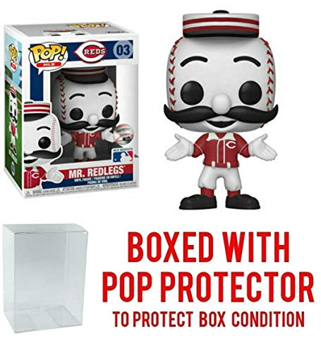 POP! Sports MLB Mascots Cincinnati Reds, Mr. Redlegs Action Figure (Bundled with Pop Box Protector to Protect Display Box)