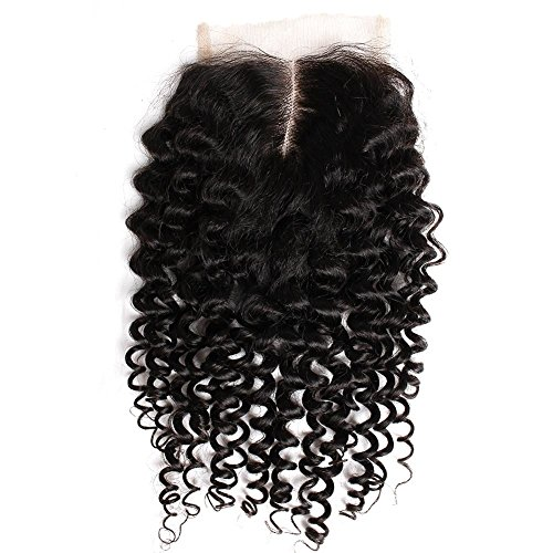 """Sent Hair Remy Brazilian Vigrin Hair Curly Weave Human Hair Lace Closure Bleached Knots Middle Part Swiss Lace 4x4 12"""" Natural Color"""