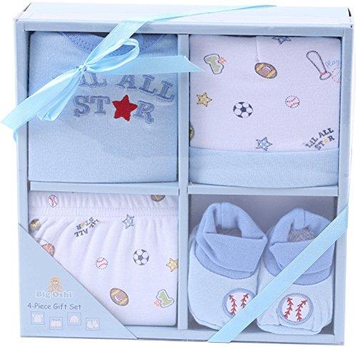 Big Oshi Baby 4-Piece Layette Gift Set, Blue, 0-6 Months