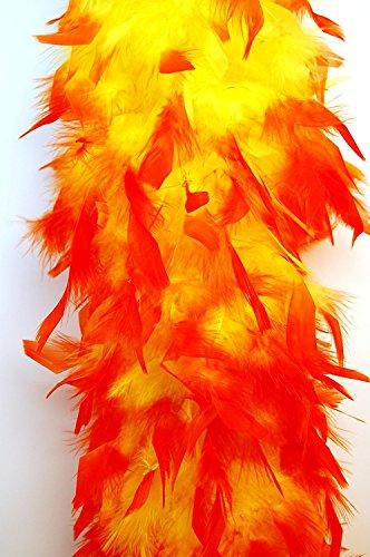 80 Gram Chandelle Feather Boa 2 Yards - YELLOW w/ ORANGE Tips]()