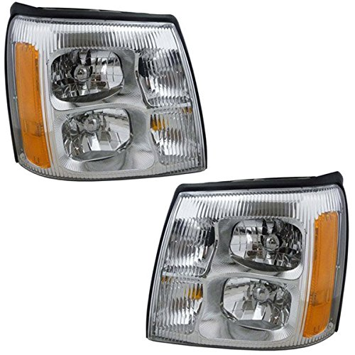 02 2002 Cadillac Escalade Base or EXT Models (8Cyl 6.0L & 5.3L) Headlight Headlamp Composite Halogen Front Head Light Lamp Set Pair Left Driver And Right Passenger Side