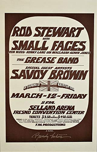 Rod Stewart 1971 - 1971 Rod Stewart with Small Faces Fresno, CA Concert Handbill
