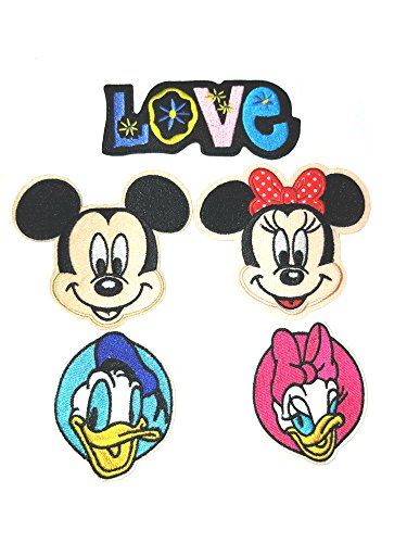 Cartoon 5 Piece Assortment Disney Embroidered DIY Easy Iron or Sew-on Applique Patch Application By SuperHeroes Brand