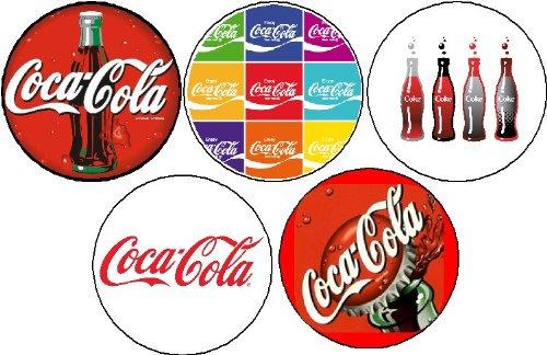 "(Quantity 20 Buttons) 4 sets of 5 Coca-Cola Pinback Buttons 1.25"" Coke Coca Cola"