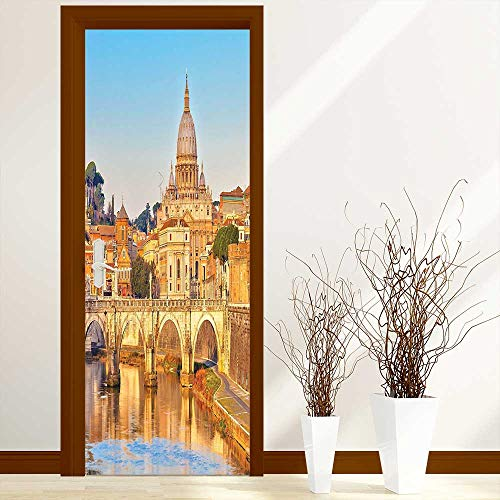 Tiber Collection - L-QN Door Murals Stickers Wall Decals Collection Tiber and St Peter Landmark Monument Sunny Touristic Travel Destination View Print or Decoration-Heat Control, W23 x H70 inch