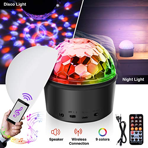 Disco Ball Light,SOLMORE LED Disco Ball Night Lamp Party Lights Disco Lights 9W 9 Colors Sound Activated Strobe Light Wireless Phone Connection with Remote for Kids Bedroom Night Light Birthday Dance