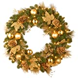 National Tree 36 Inch Decorative Collection Elegance Wreath with 100 Clear Lights (DC13-109L-36W)