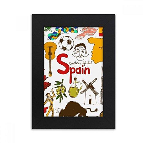 DIYthinker Spain Landscap Animals National Flag Desktop Photo Frame Picture Black Art Painting 5x7 inch by DIYthinker
