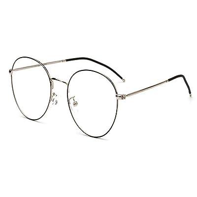 3b4dbb0f89941 Hzjundasi Rétro Des lunettes pour Femme et Homme Lentille claire Métal Rond Cadre  Lunettes Anti-fatigue UV400