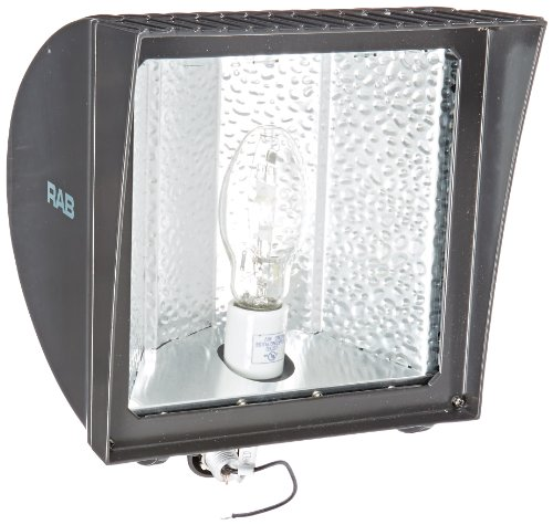 Floodlight 150w Metal Halide Quad - RAB Lighting FXH150QT Metal Halide Flex Floodlight with Heavy Duty Swivel Arm, ED17 Type, Aluminum, 150W Power, 12500 Lumens, 277V, Bronze Color