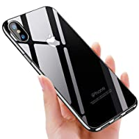 unibelin  Coque iPhone X, Crystal iPhone X Silicone Coque Ultra-Thin Anti-Rayures Absorption de Choc TPU Bumper Coque De Protection pour iPhone X Etui - Jet Noir