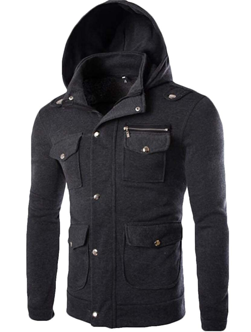 S-Fly Men Hooded Pockets Stand Collar Casual Button Up Sweatshirt Jacket