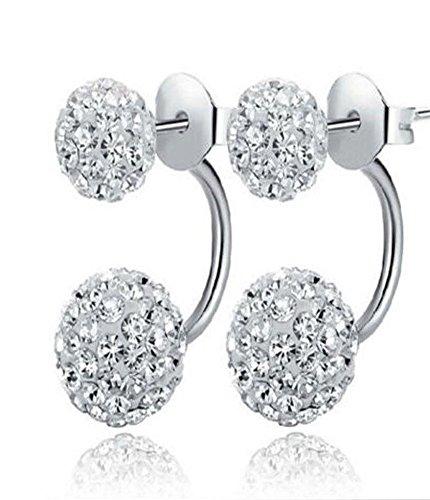 rings Studs Crystal Rhinestone Post Silver Bling Fashion 1 Pair (Silver) ()