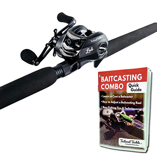 Tailored Tackle Bass Fishing Rod and Reel Right Handed Baitcasting Combo 7 Ft 2-Piece   Casting Rods Power: Med. Heavy Fast Action   7 BB Baitcast Reels Gear Ratio - 6.3:1   Baitcaster Fishing Pole